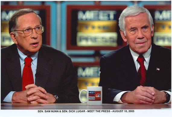 "Senators Nunn and Lugar on NBC's ""Meet the Press"" in 2003. Courtesy: The Lugar Center"