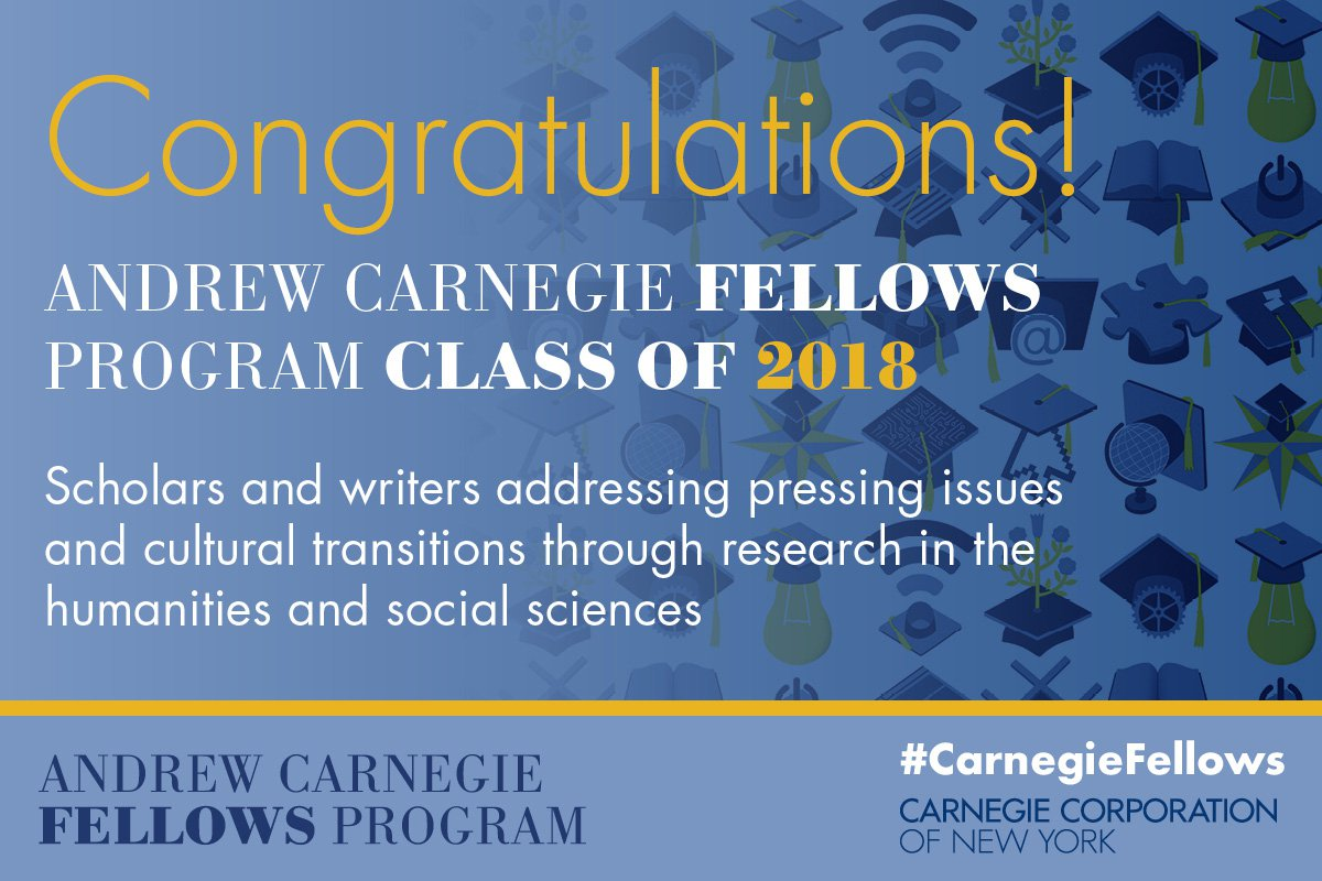 2018 Andrew Carnegie Fellows Congratulations Photo