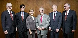 Presidents of the seven Partnership for Higher Education in Africa foundations, pictured from left to right: Don Randel, Andrew W. Mellon Foundation; Luis A. Ubiñas, Ford Foundation; Judith Rodin, Rockefeller Foundation; Vartan Gregorian, Carnegie Corpora