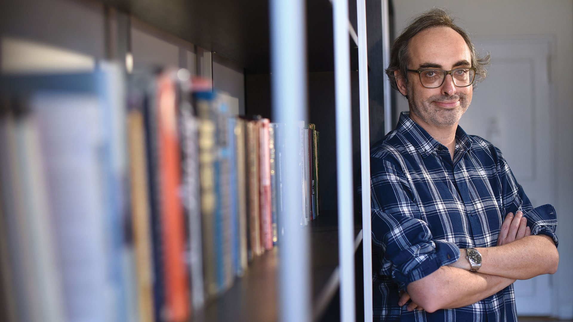 Gary Shteyngart by bookshelf