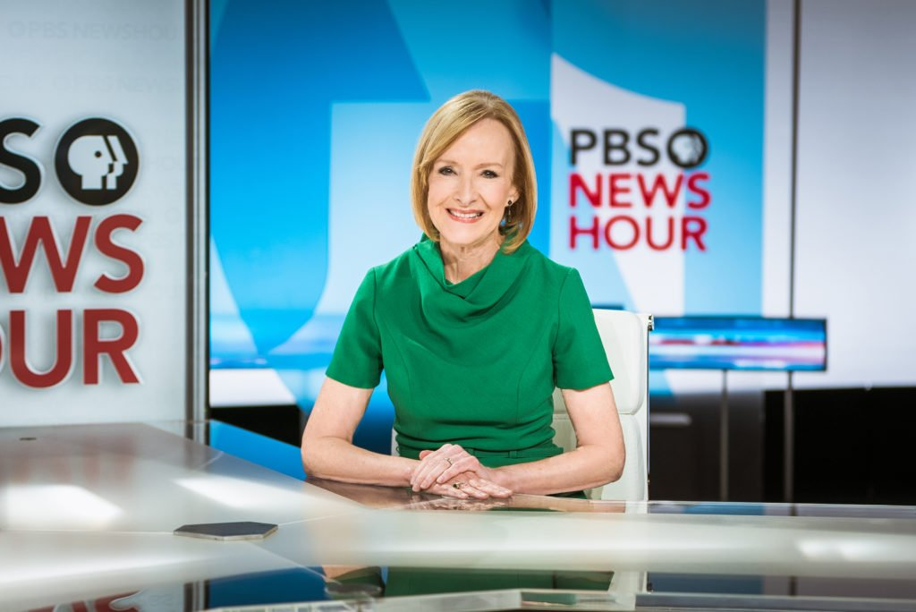 PBS NewsHour anchor Judy Woodruff on the set of the public television's nightly newscast