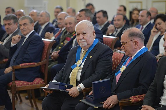 Vartan Gregorian wears the Order of Honor bestowed on him by the president of Armenia. Seated to Gregorian's left is Carnegie Corporation of New York trustee Edward P. Djerejian, who was also awarded the Order of Honor.