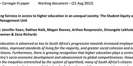 Promoting fairness in access to higher education in an unequal society: The Student Equity and Talent Management Unit